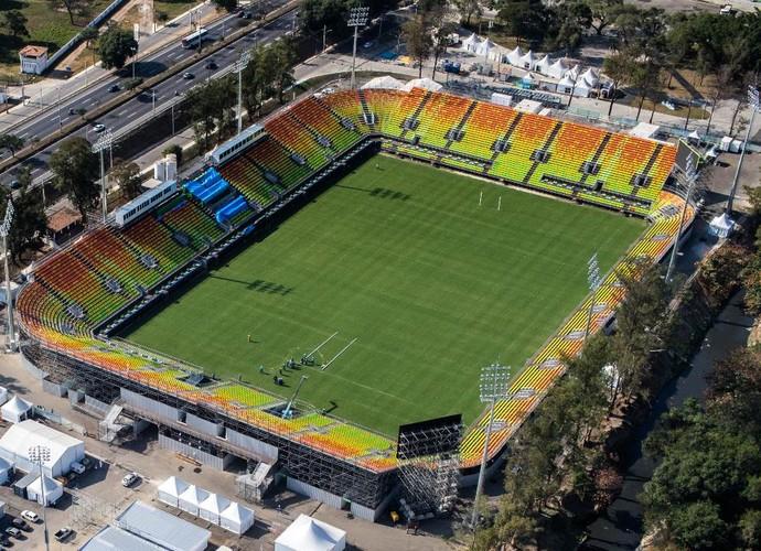 A visão aérea do estádio de rúgbi de Deodoro (Foto: Divulgação)