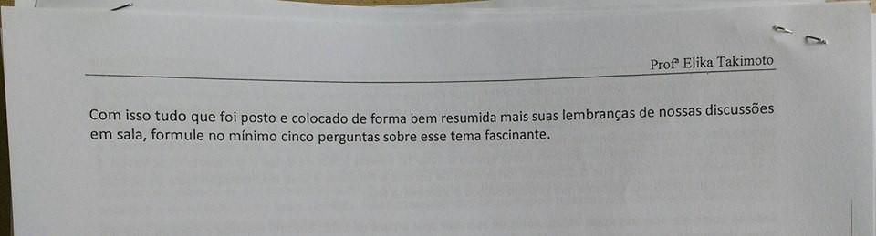 Proposta da avaliação da professora Elika (Foto: Reprodução/Facebook)