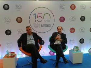 CEO da Nestlé Brasil, Juan Carlos Marroquín, e o CEO da Nestlé, Paul Bulcke (Foto: Michelly Oda / G1)