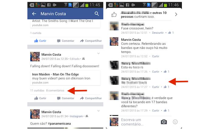 Acessando as opções para um comentário no Facebook para Android (Foto: Reprodução/Marvin Costa) (Foto: Acessando as opções para um comentário no Facebook para Android (Foto: Reprodução/Marvin Costa))