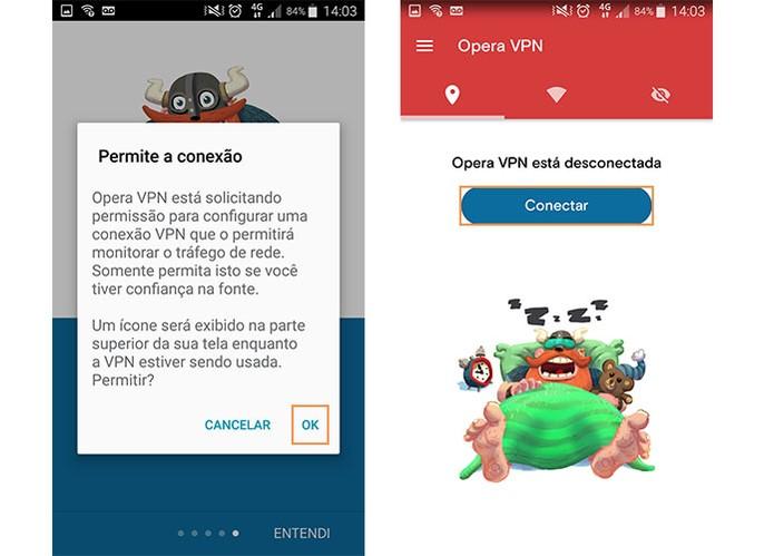 ative o uso da VPN no celular e inicie a conexão (Foto: Reprodução/Barbara Mannara)