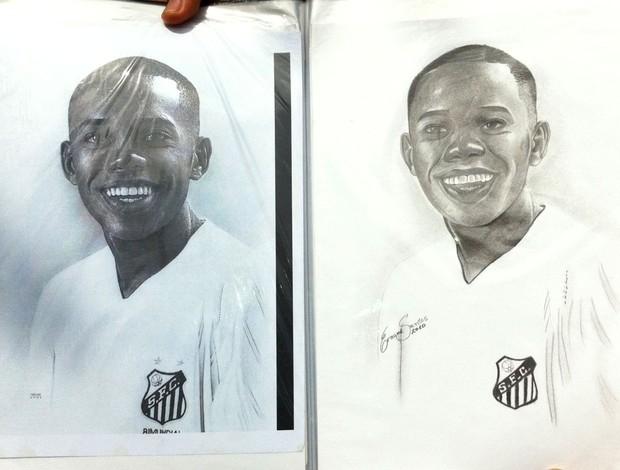 Ernane Santos, desenho Robrinho (Foto: Vicente Seda / Globoesporte.com)