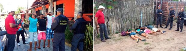 Suspeitos foram presos na Praia da Pipa, no litoral Sul potiguar (Foto: Tenente da PM Daniel Costa/G1)