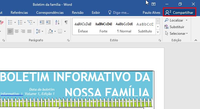Comece a compartilhar um documento (Foto: Reprodução/Paulo Alves)