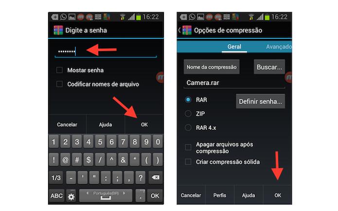 Terminando a configuração de um novo arquivo zipado com senha com o Rar para Android (Foto: Reprodução/Marvin Costa)