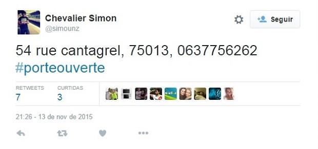 Usuário do Twitter oferece abrigo para quem está nas ruas de Paris e precisa de lugar seguro (Foto: Reprodução/Twitter)