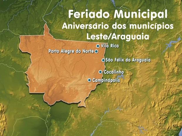 Municípios na região Leste/Araguaia de Mato Grosso que fazem aniversário nesta sexta-feira (Foto: Reprodução/TVCA)