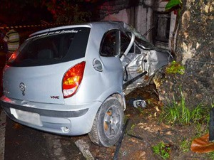 Com o impacto da batida do veículo contra a árvore, a parte do passageiro ficou completamente destruído (Foto: Walter Paparazzo/G1)