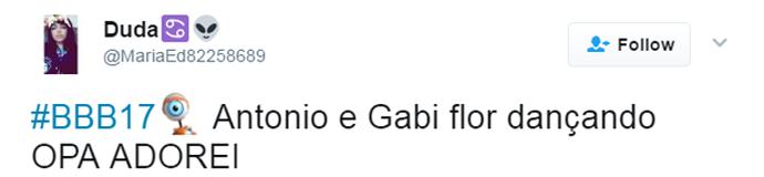 Tuite Antonio e Gabi Flor (Foto: Reprodução Twitter\@MariaEd82258689)