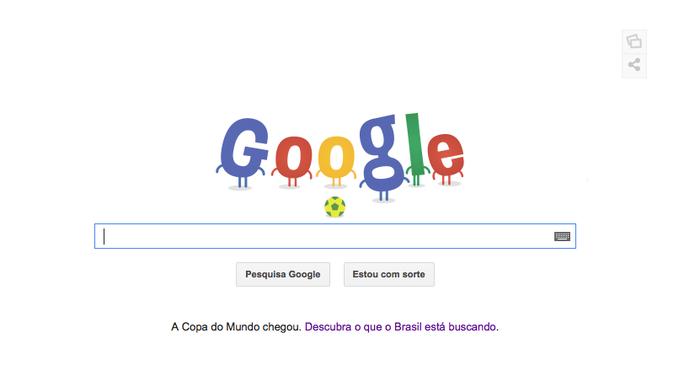 Doodle da Copa do Mundo de 2014 tem bola rolando no site de buscas (Foto: Reprodução/Google)