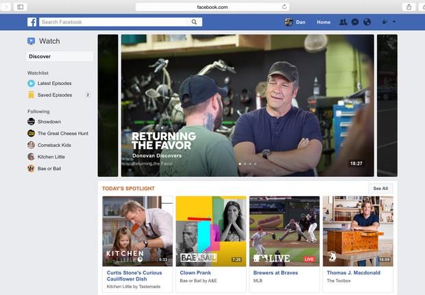 Facebook anuncia novo produto Watch para competir com YouTube (Foto: Reprodução/Facebook)
