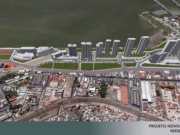 Proposta de redesenho prevê modificação nas alturas dos prédios; máximo era de 40 andares e passa a ser de 38 (Foto: Divulgação/Consórcio Novo Recife)