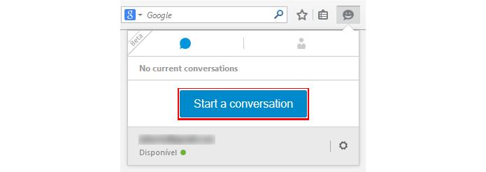 Conversas podem ser iniciadas na janela principal do navegador (foto: Reprodução/Firefox)
