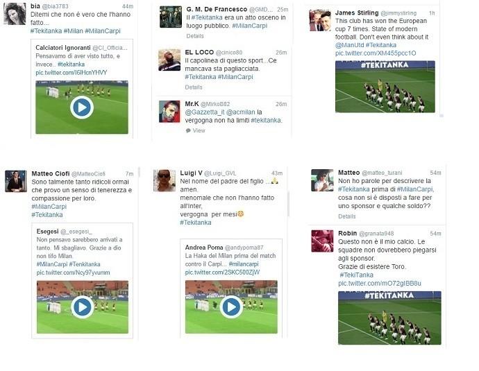 Posts contra ação publicitária do Milan