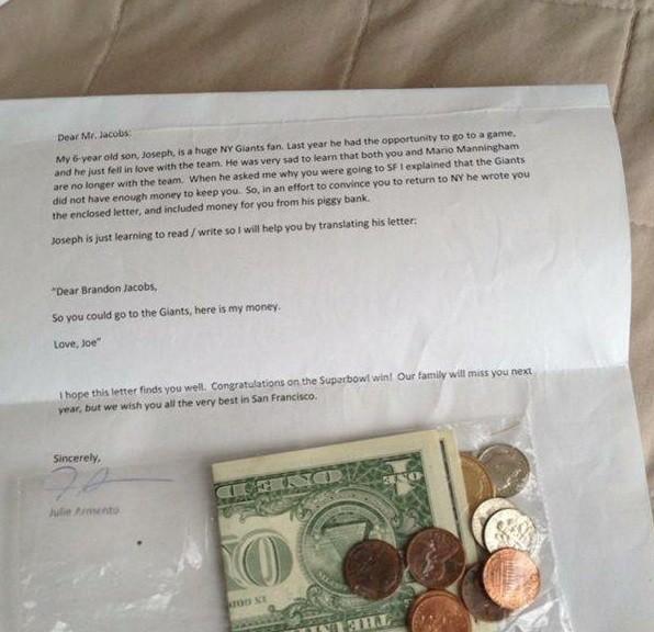 Carta de Joseph para Brandon Jacobs (Foto: Divulgação)