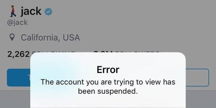 Mensagem do Twitter informando suspensão da conta do próprio CEO do microblog