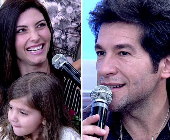No 'Encontro', Daniel e a esposa, Aline, lembram início do relacionamento (Foto: TV Globo)