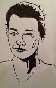 Thiago Mendonça fez um desenho em homenagem à Julia Lemmertz (Foto: Vídeo Show / TV Globo)