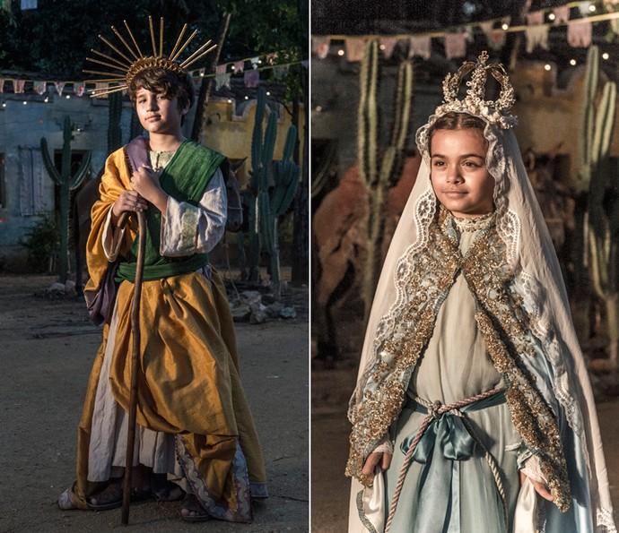 Santo interpreta São José e Tereza vive Nossa Senhora em procissão (Foto: Renato Rocha Miranda/ Globo)