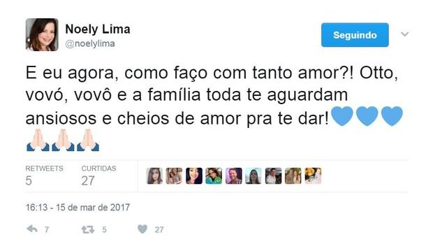 Noely festeja a gravidez da mulher do filho, Junior Lima (Foto: Reprodução/Twitter)