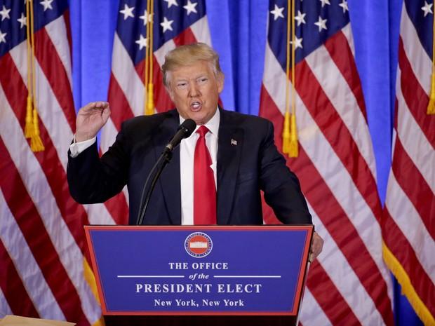 Donald Trump dá primeira entrevista coletiva como presidente eleito dos EUA (Foto: AP Photo/Seth Wenig)