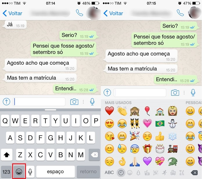 Use emoticons no bate-papo do WhatsApp (Foto: Reprodução/Juliana Pixinine)