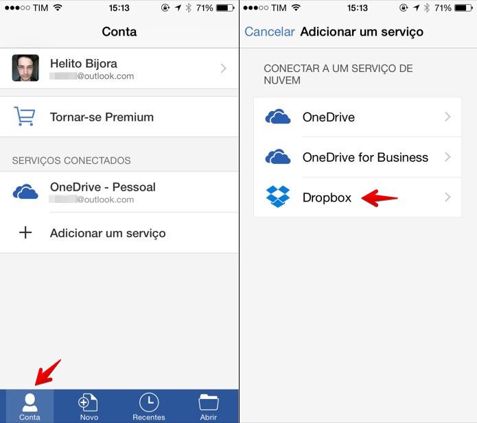 Adicionando conta do Dropbox ao aplicativo do Office (Foto: Reprodução/Helito Bijora)
