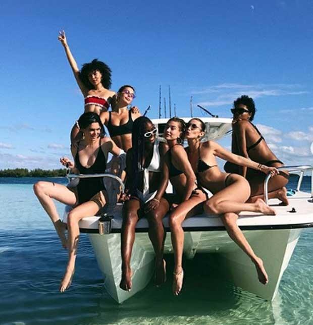 Isabella Peschardt,  Kendall Jenner, Camila Morrone, Justine Skye, Hailey Baldwin e Bella Hadid    (Foto: Reprodução)