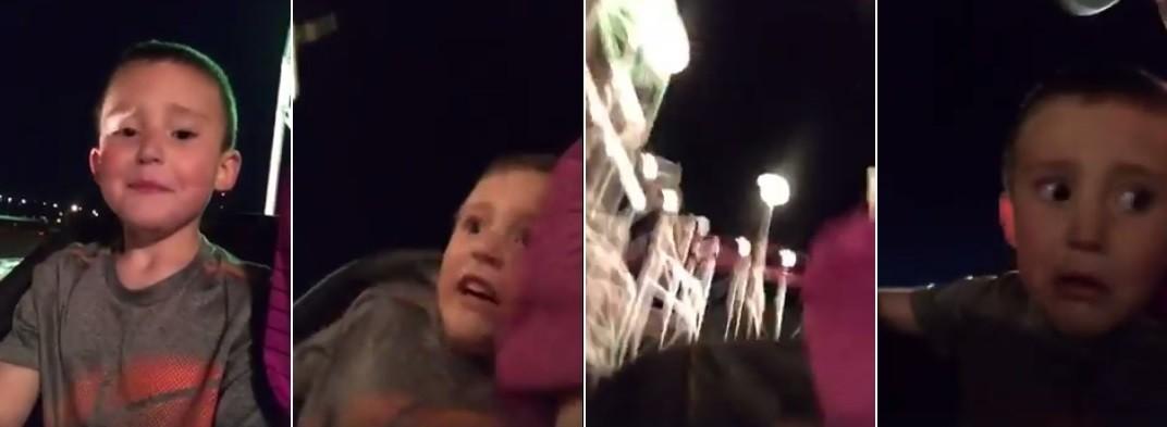 O momento de pânico no carrinho da atração do parque americano