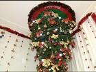 Moradora do TO inova ao pendurar árvore de Natal no teto de casa