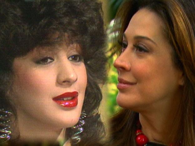 Claudia Raia antes da plástica no nariz, em 1985, e atualmente (Foto: Vídeo Show/TV Globo)