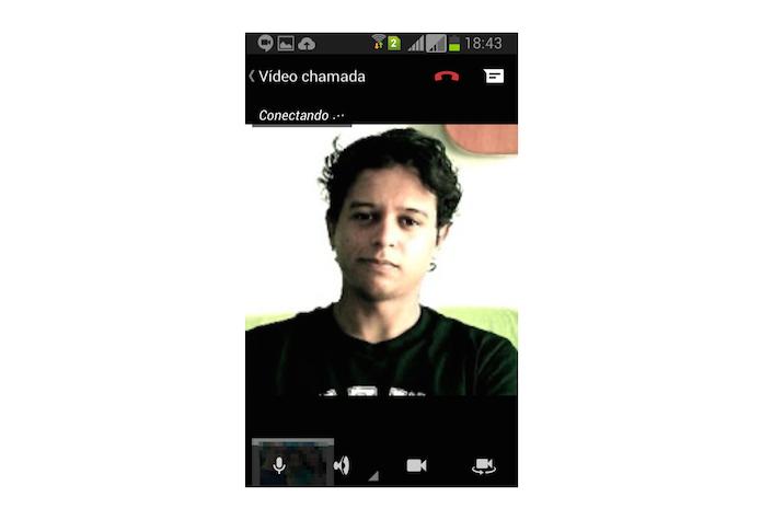 Aguardando que um contato atenda a chamada de vídeo realizada no Hangouts pelo Android (Foto: Reprodução/Marvin Costa)