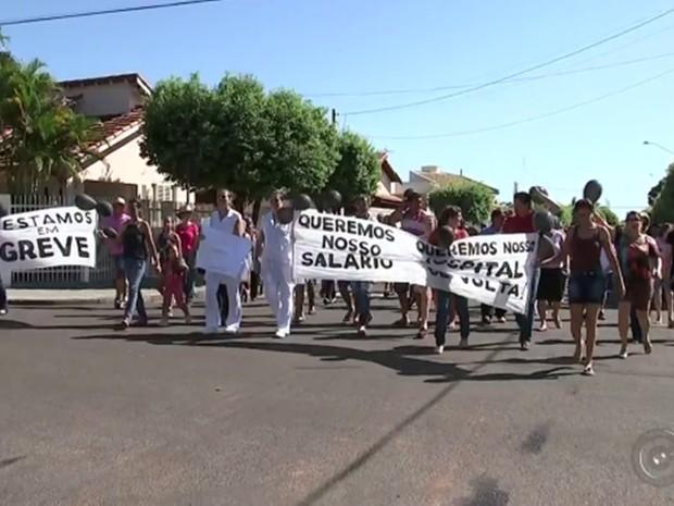 Mais de cem pessoas percorreram as ruas da cidade  (Foto: Reprodução/TV TEM)