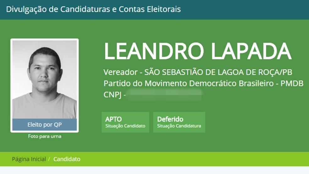 Vereador renunciou ao mandato - com salário de R$ 4 mil - por falta de privacidade e de tempo para a família, na Paraíba (Foto: Reprodução/TSE)