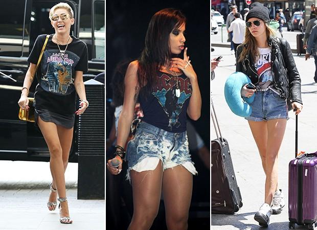 Camisetas de Banda - Miley Cyrus, Anitta e Caraca Delevingne (Foto: AKM-GSI BRASil / Splash News - Dudu Fotógrafo - Agência Getty Images)