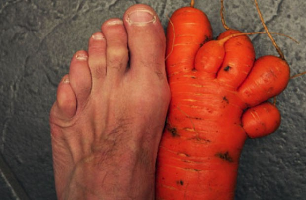 Em 2010, o britânico Stuart Boulton encontrou uma cenoura em formado de pé, com cinco dedos, na plantação que tem em casa, na cidade de Darlington, na Inglaterra.  (Foto: Reprodução)