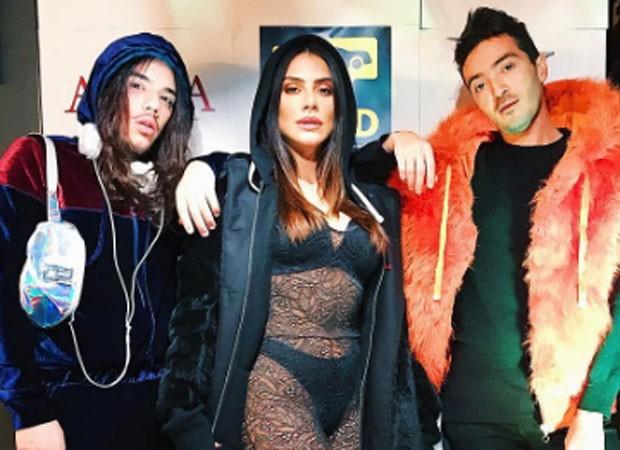 Cleo Pires com os DJs Gabriel Rocha e Felipe Mar (Foto: Reprodução/Instagram)