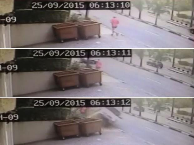 Sequência mostra que o pedestre escapou por pouco de ser atingido pelo veículo  (Foto: Reprodução/TV Globo)