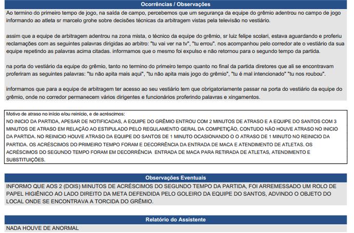 106b0ccc0a súmula gremio x santos arena copa do brasil (Foto  Reprodução)