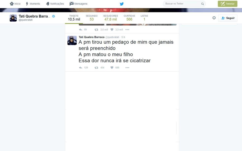 Tati Quebra Barraco fez relatos em redes sociais (Foto: Twitter / Reprodução)