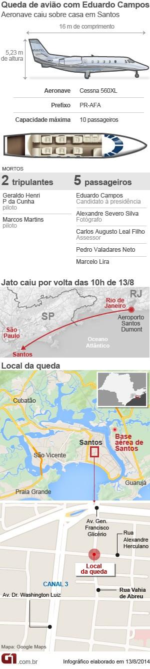 Arte Queda avião Eduardo Campos (VALE ESTA) (Foto: Editoria de Arte / G1)