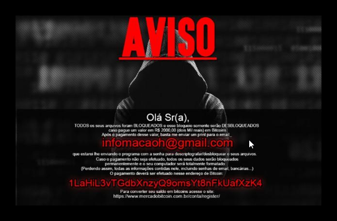 Mensagem trazida pelo vírus Crypt888 (Foto: Divulgação/Avast)