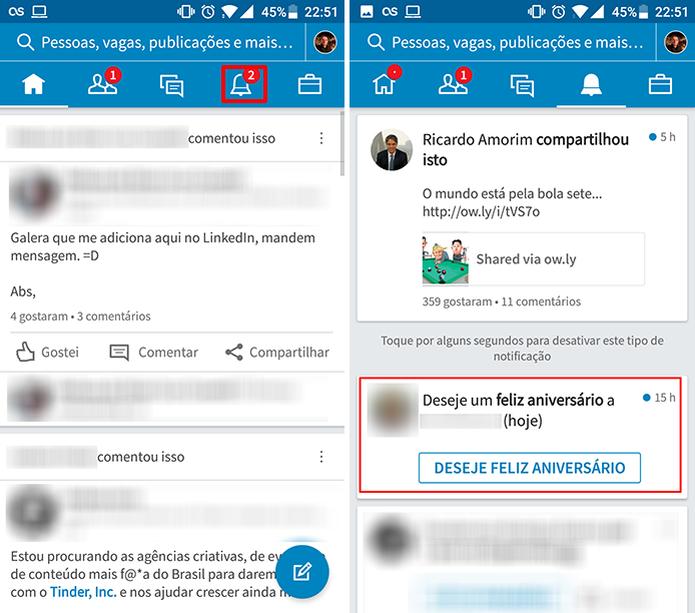 LinkedIn para Android permite que usuário desative notificações no app  (Foto: Reproudção/Elson de Souza)