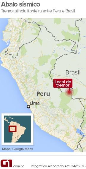 Tremor no Peru Terremoto Abalo Sísmico (Foto: Editoria de Arte/G1)