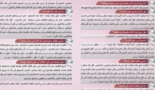 Panfleto do grupo Estado Islâmico destaca como escravas devem ser tratadas e o que é ou não permitido fazer com elas (Foto: BBC)