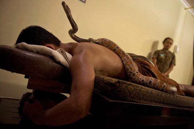 Tilukay procurou o tratamento para tentar superar seu medo de cobras. Esta foi sua terceira massagem com os animais (Foto: Romeo Gacad/AFP)