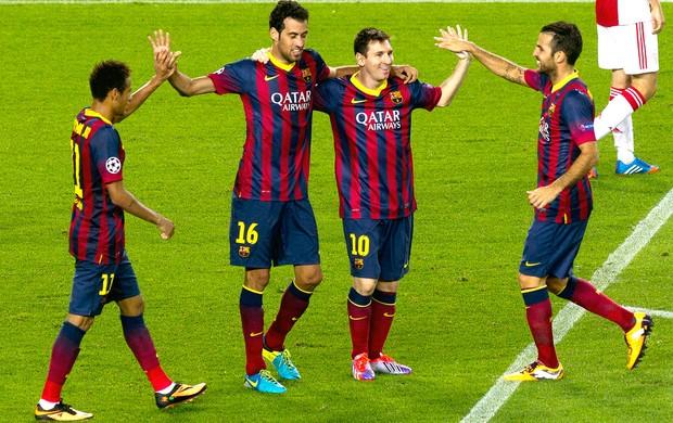 Messi comemora gol Barcelona e Ajax (Foto: AFP)