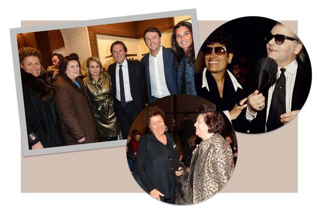 Carla Fendi com seu marido Candido Speroni e, ao lado, com Cristina Pucci e Suzy Menkes (Foto: Reprodução / Fendi / Getty e @suzymenkesvogue)