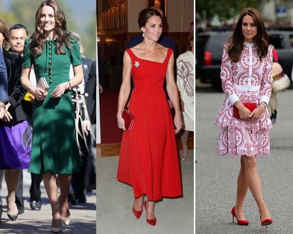Kate Middleton: escolheu o verde DolceGabbana, o vermelho da Preen e o estampado da McQueen (Foto: Getty Images)