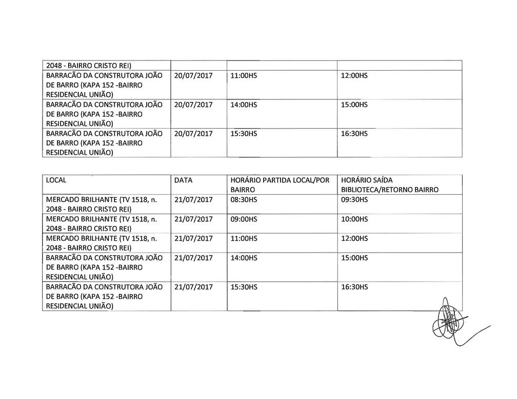 Programação dos dias 20 e 21 de julho em Vilhena (Foto: Reprodução)
